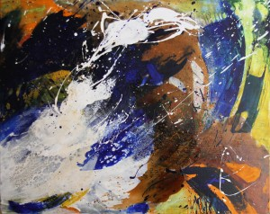 Ohne Titel. Acryl Mischtechnik auf Leinwand, 100x80x4