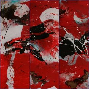 Triptychon Christmas Eve. Acryl Mischtechnik auf Leinwand, 120x120