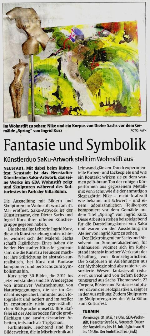 SAKU artwork beim Kulturfest Neustadt - Rheinpfalz Artikel über Ingrid Kurz und Dieter Sachs